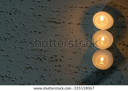 burning candles top view above - stock photo