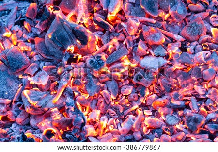 burning charcoal as a background. texture - stock photo