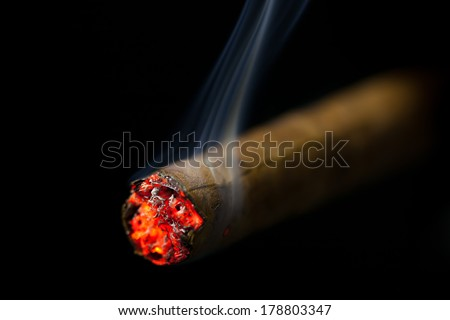 burning cigar on black background - stock photo