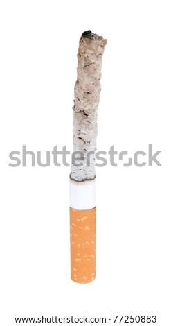 burning cigarette isolated on a white background - stock photo