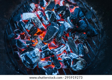 Burning coals, close up, background, top view - stock photo