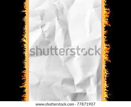 burning crumpled paper - stock photo