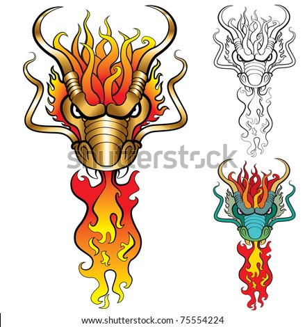 Burning Dragon head in three color variations. Artwork inspired with traditional Chinese and Japanese dragon arts. JPEG version. - stock photo