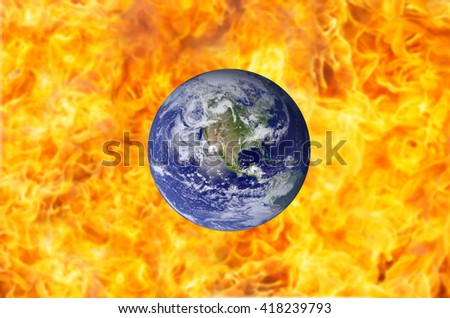Burning Earth background - Elements of this image furnished by NASA  - stock photo