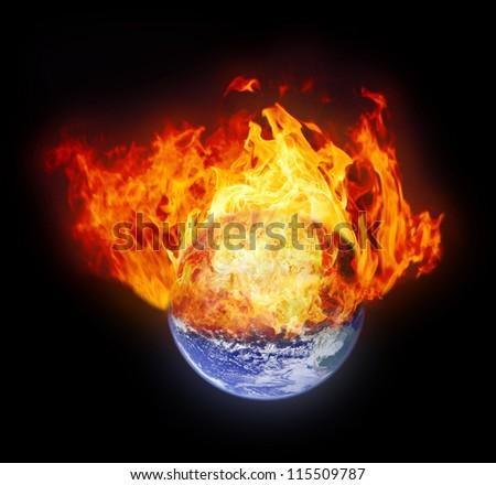 Burning earth globe (with gloving) (elements furnished by NASA) - stock photo
