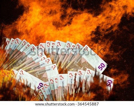 Burning Euro money, currency in flames. Stock market or investment collapse. Concept. White background. - stock photo