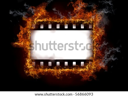 Burning film strip - stock photo