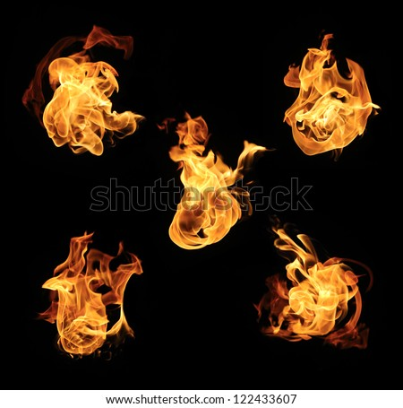 Burning fire collection - stock photo