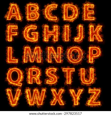 Burning fire. Fire font collection isolated on black background - stock photo