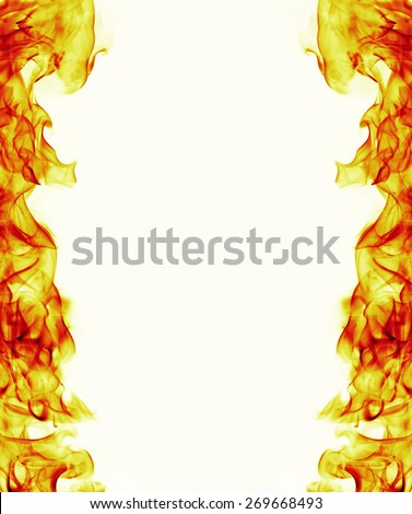burning fire flame frame on white background - stock photo