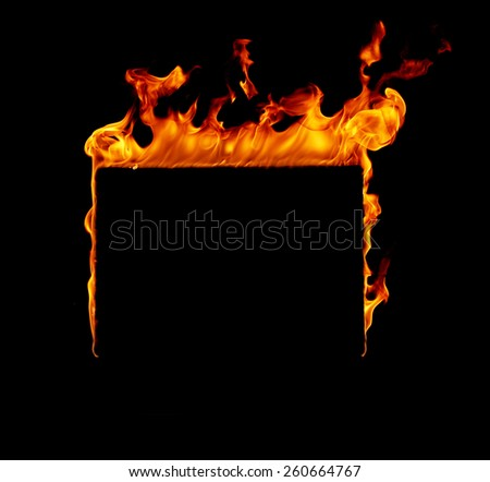 Burning fire frame - stock photo