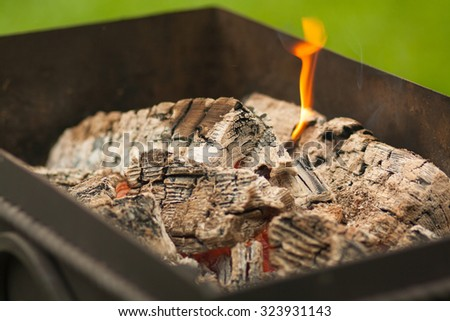 burning fire in barbecue, fire woods and hot coal in a grill - stock photo