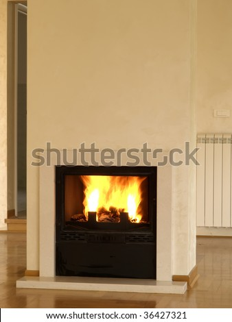 burning fireplace - stock photo