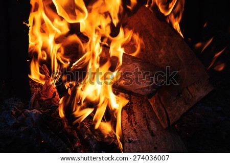 Burning firewood in fireplace close up - stock photo