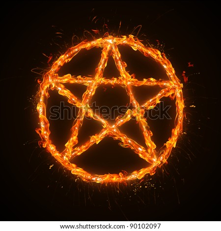 Burning five-point star - stock photo
