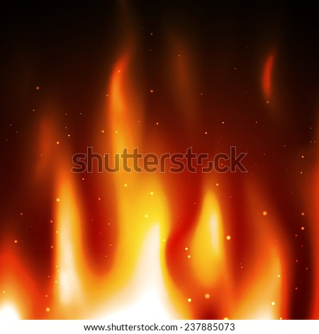 Burning flame background. Abstract fire with sparkles - stock photo