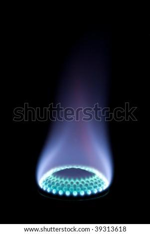 Burning gas on a black background - stock photo