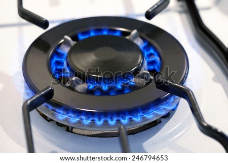 Burning gas ring on a domestic stove top providing power and energy for cooking - stock photo