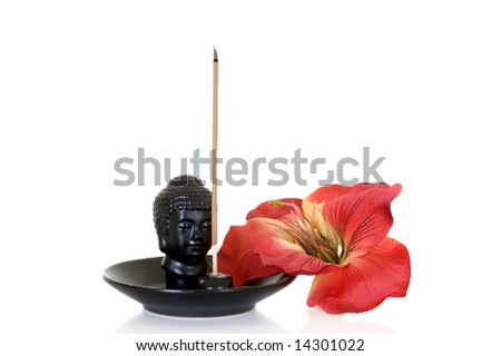 Burning incense for relaxation on white background, studio shot - stock photo