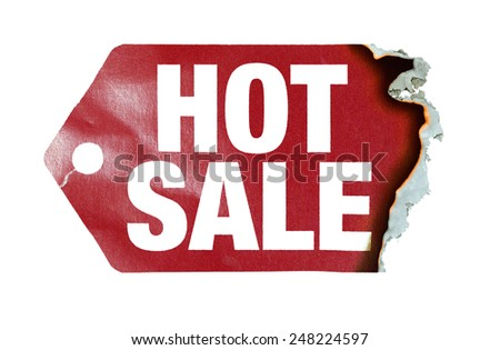 "Burning label with text ""hot sale"" - stock photo"