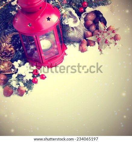 Burning lantern with the snow at christmas night / christmas holiday background with burning lantern - stock photo