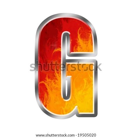 Burning letters alphabet G - stock photo