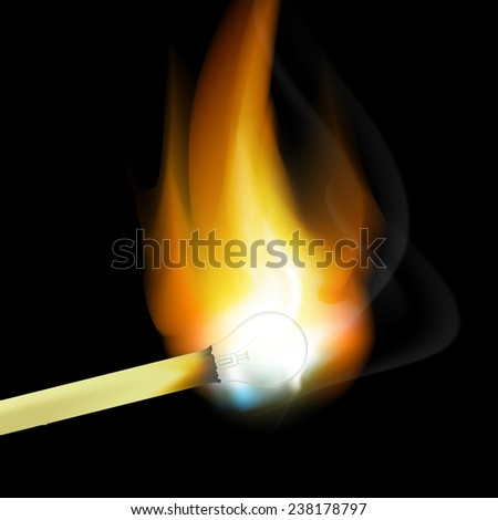 burning match in the form of light bulbs - stock photo