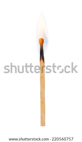 Burning match isolated on white background - stock photo