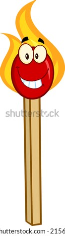 Burning Match Stick Cartoon Mascot Character. Raster Illustration  - stock photo