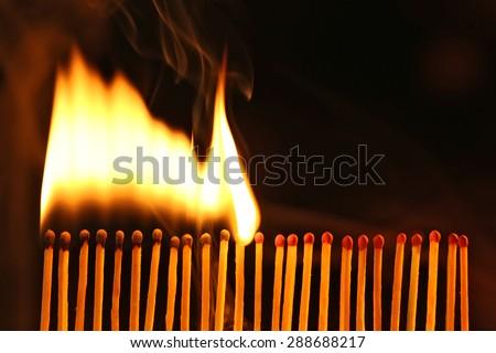 Burning matches - stock photo