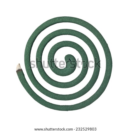 Burning mosquito coil isolated on white background  - stock photo