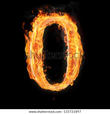 Burning numbers on black background - zero - stock photo