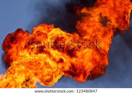 Burning of associated gas - stock photo