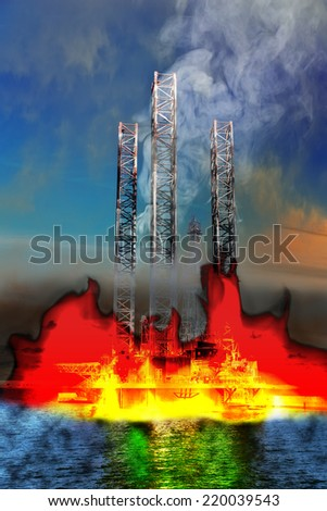 Burning Oil Rig on the sea - abstract view. - stock photo