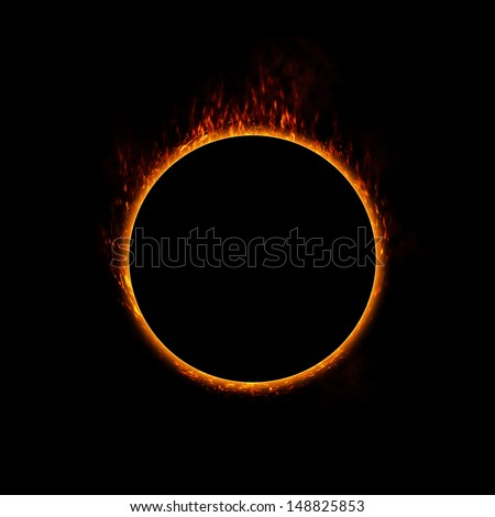 Burning ring of fire. concept for eclipse, solar energy, heat or use in a design - stock photo