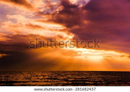 Burning Skies Fiery Backdrop  - stock photo