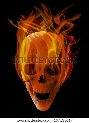 burning skull - stock photo