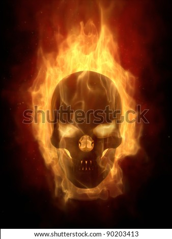 Burning skull in hot flame  real 3D simulation - stock photo