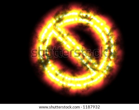 burning stop no entry - stock photo