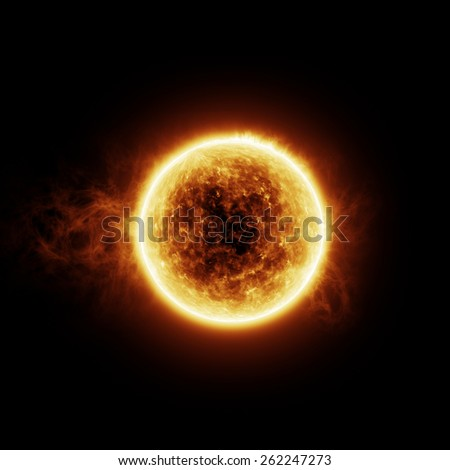 Burning sun with flares on a black background with room for text or copy space - stock photo