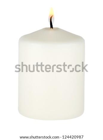 Burning white candle on white background - stock photo