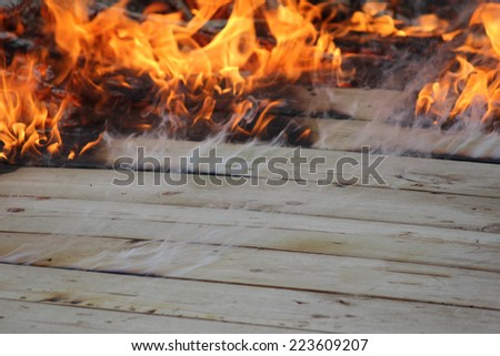 Burning Wood Catching Fire - stock photo