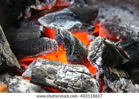 Burning Wood Charcoals  - stock photo