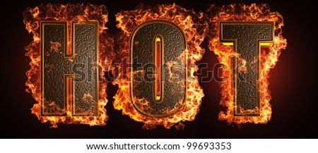burning word made in 3D graphics - stock photo