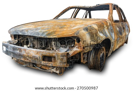 burnout car , Isolation on a white background with clipping paths and shadow - stock photo