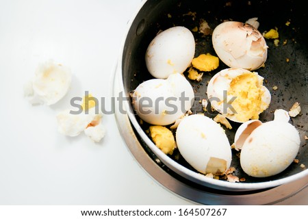 Burnt Boiled Eggs - stock photo