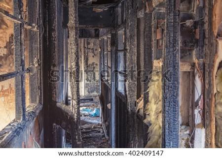 Burnt house - stock photo