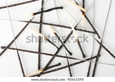 Burnt matches and sparklers - stock photo