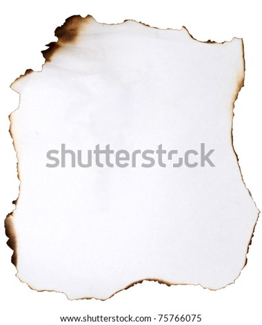 burnt paper on white - stock photo
