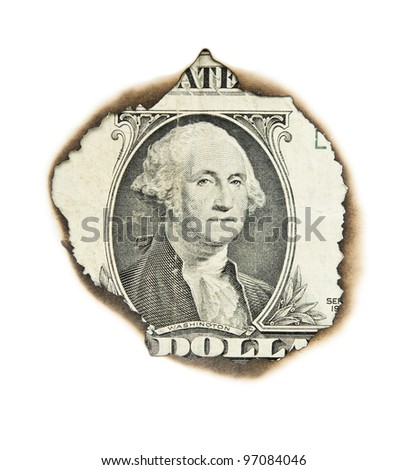 Burnt portrait of  washington on one dollar bill. - stock photo